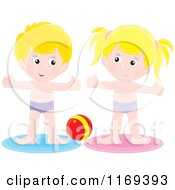 Cartoon Of A Boy And Girl Doing Exercises By A Ball Royalty Free Vector Clipart by Alex Bannykh