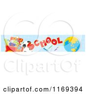 Cartoon Of A School Website Banner With Supplies And A Globe On Blue Graph Royalty Free Vector Clipart