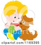 Cartoon Of A Happy Blond Boy And Puppy With A Ball Royalty Free Vector Clipart