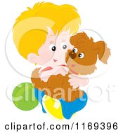 Cartoon Of A Happy Blond Boy Holding His Puppy Royalty Free Vector Clipart