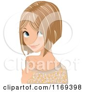 Clipart Of A Dirty Blond Haired Girl Sporting A Cute Haircut Royalty Free Vector Illustration by Melisende Vector