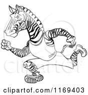 Cartoon Of A Black And White Running Track And Field Zebra Mascot Royalty Free Vector Clipart by LaffToon