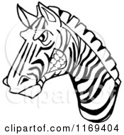 Cartoon Of A Black And White Aggressive Zebra Head Royalty Free Vector Clipart