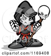 Cartoon Of A Tough Necromancer Holding Up A Fist And Skull Staff Royalty Free Vector Clipart
