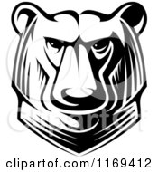 Clipart Of A Black And White Kodiak Bear Head Royalty Free Vector Illustration