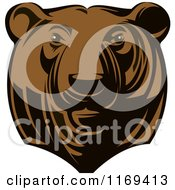 Clipart Of A Brown Grizzly Bear Head Royalty Free Vector Illustration