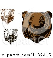 Clipart Of Black And White And Brown Grizzly Bear Heads Royalty Free Vector Illustration