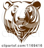 Clipart Of A Brown Grizzly Bear Head 2 Royalty Free Vector Illustration
