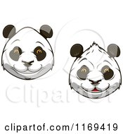 Clipart Of Happy Giant Panda Faces Royalty Free Vector Illustration by Vector Tradition SM