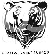 Clipart Of A Black And White Grizzly Bear Head Royalty Free Vector Illustration