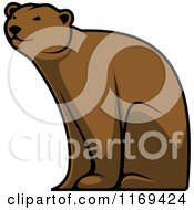 Clipart Of A Happy Brown Bear Sitting Royalty Free Vector Illustration