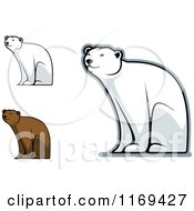 Clipart Of Happy Bears Sitting Royalty Free Vector Illustration