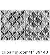 Clipart Of Black And White Damask Patterns Royalty Free Vector Illustration