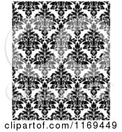 Clipart Of A Black And White Triangular Damask Pattern Seamless Background 30 Royalty Free Vector Illustration