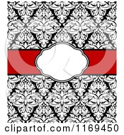 Clipart Of A Black And White Damask Invitation With A Red Ribbon And Copyspace 2 Royalty Free Vector Illustration