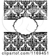 Clipart Of A Black And White Damask Invitation With Copyspace Royalty Free Vector Illustration