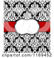 Clipart Of A Black And White Damask Invitation With A Red Ribbon And Copyspace Royalty Free Vector Illustration