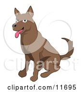 Friendly Brown Dog Clipart Illustration
