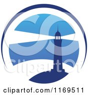 Clipart Of A Lighthouse And Beacon Over Blue 2 Royalty Free Vector Illustration