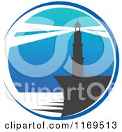 Clipart Of A Lighthouse And Beacon Over Blue Royalty Free Vector Illustration