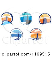 Clipart Of Lighthouse And Beacons Royalty Free Vector Illustration
