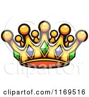 Clipart Of A Gold Crown Adorned With Gems 3 Royalty Free Vector Illustration