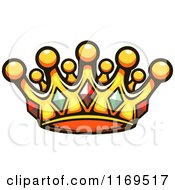 Clipart Of A Gold Crown Adorned With Gems 4 Royalty Free Vector Illustration