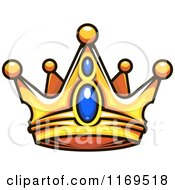 Clipart Of A Gold Crown Adorned With Sapphires Royalty Free Vector Illustration