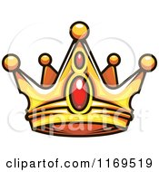 Clipart Of A Gold Crown Adorned With Rubies 2 Royalty Free Vector Illustration