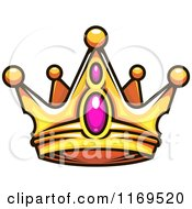Clipart Of A Gold Crown Adorned With Gems 2 Royalty Free Vector Illustration