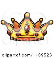 Clipart Of A Gold Crown Adorned With Rubies Royalty Free Vector Illustration