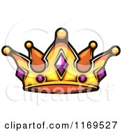 Clipart Of A Gold Crown Adorned With Gems Royalty Free Vector Illustration