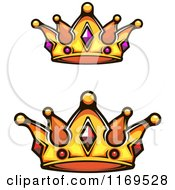 Clipart Of Crowns Adorned With Gems Royalty Free Vector Illustration