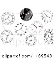 Clipart Of Wall Clocks Royalty Free Vector Illustration