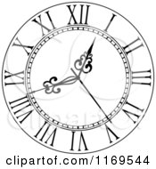 Clipart Of A Black And White Wall Clock 5 Royalty Free Vector Illustration