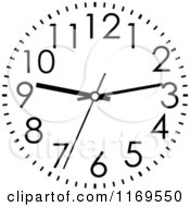 Clipart Of A Black And White Wall Clock 2 Royalty Free Vector Illustration