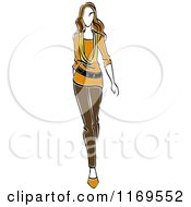 Clipart Of A Sketched Model Walking In Blouse And Pants Royalty Free Vector Illustration