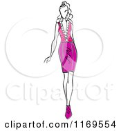 Clipart Of A Sketched Model Walking In A Skirt And Blouse 3 Royalty Free Vector Illustration