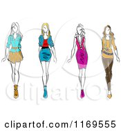Clipart Of A Sketched Fashion Models Walking Royalty Free Vector Illustration
