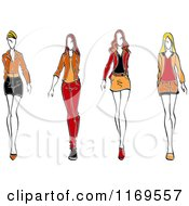 Clipart Of A Sketched Fashion Models Walking 2 Royalty Free Vector Illustration