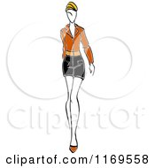 Clipart Of A Sketched Model Walking In A Mini Skirt 3 Royalty Free Vector Illustration