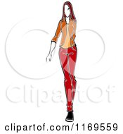 Clipart Of A Sketched Model Walking In A Blazer And Pants Royalty Free Vector Illustration