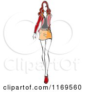 Clipart Of A Sketched Model Walking In A Mini Skirt Royalty Free Vector Illustration