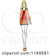 Clipart Of A Sketched Model Walking In A Mini Skirt 2 Royalty Free Vector Illustration