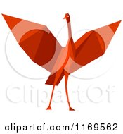 Clipart Of A Red Origami Heron Stork Or Crane Royalty Free Vector Illustration by Vector Tradition SM