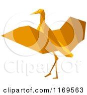 Clipart Of An Orange Origami Heron Stork Or Crane Royalty Free Vector Illustration by Vector Tradition SM