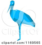 Clipart Of A Blue Origami Heron Stork Or Crane Royalty Free Vector Illustration by Vector Tradition SM