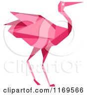 Clipart Of A Pink Origami Heron Stork Or Crane Royalty Free Vector Illustration by Vector Tradition SM