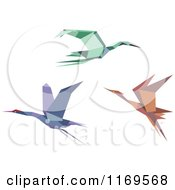 Clipart Of Flying Origami Heron Stork Or Cranes Royalty Free Vector Illustration by Vector Tradition SM