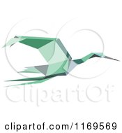 Clipart Of A Flying Green Origami Heron Stork Or Crane Royalty Free Vector Illustration by Vector Tradition SM